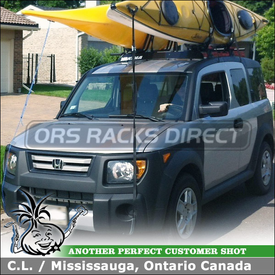 Roof Rack Kayak Mounts for 2008 Honda Element Using Yakima Control Towers, Landing Pad 9 and HullRaisers
