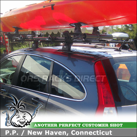 Roof Rack Kayak Rollers System for 2011 Honda CRV using Thule 460 Podium w/ 3042 Fit Kit & 887XT SlipStream Kayak Rack