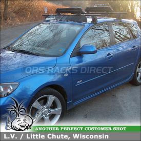 "Roof Rack Skis-Snowboards Carrier & Wind Fairing for 2005 Mazda 3 5DR using Yakima Q Towers w/ Q99 & Q34 Clips, Buttondown Aero & 44"" Car Fairing"