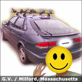 Saab 93 Roof Rack for Kayaks with Thule 400XT Aero Car Rack and Thule 883 Glide & Set Kayak Carriers