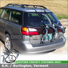 Saris Bones Trunk Bike Rack Mounted to 2004 Subaru Outback Rear Hatch Door for Carrying 2 Bicycles