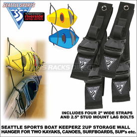 Seattle Sports Boat Keeperz 2UP Two Kayaks Hanger - also Wall Mount Storage Rack for Canoes, SUP's, Surfboards, Ladders etc. - 026015