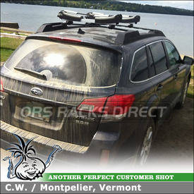 Stand-Up Paddleboard SUP Rack for 2010 Subaru Outback Factory Crossbars using Thule 810 SUP Taxi StandUp Paddle Boards Carrier