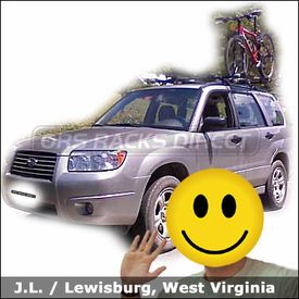 Subaru Forester Bike Rack with Yakima EZ Rider Roof Rack and Rocky Mounts Lariats