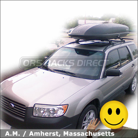 Subaru Forester Roof Rack Cargo Box with Yakima Locking EZ Rider System & SkyBox 18
