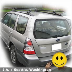 Subaru Forester Roof Rack with Yakima Locking EZ Rider Car Rack System