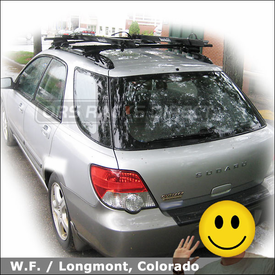 Subaru Impreza Outback Sport Bike Roof Rack with Thule 450 CrossRoad System & Rocky Mounts Lariat SL Bike Carriers