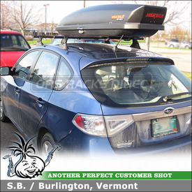 Subaru Impreza Roof Rack Cargo Ski Box with Yakima Control Towers, LP11 Landing Pads & SkyBox 12 Roof Box
