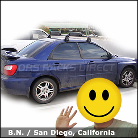 Subaru Impreza RS Roof Rack for Skis & Snowboards with Yakima Q Towers System and Yakima Buttondown Aero