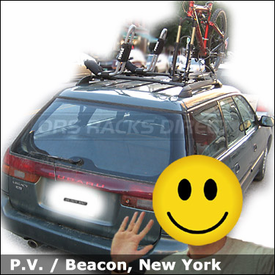 Subaru Legacy Factory Roof Rack Mounted Bike & Kayak Racks with Thule 835XTR Hull-a-Port and RockyMounts Noose SL