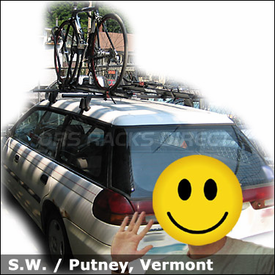 Subaru Legacy wagon Car Rack for Bikes with Yakima Q Towers & King Cobra Bike Racks