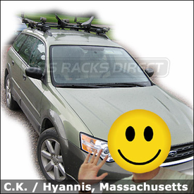 Subaru Outback Car Rack  for Kayak & Bikes Yakima Lowrider System, CopperHead Bike Racks and Mako / HullyRollers Kayak Carrier