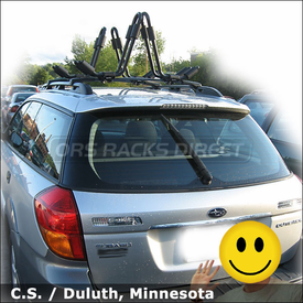 Subaru Outback Factory Rack Kayak Carriers with SportRack ABR511 J-Cradle Kayak Racks