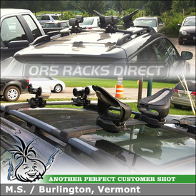 Subaru Outback Kayak Rack Roller  for Factory Crossbars Using Yakima Mako Aero Saddles and Yakima HullyRoller With MightyMounts