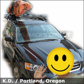 Subaru Outback Kayak Roof Rack with Thule 450 CrossRoad Base System & Thule 835XTR Hull-a-Port Kayak Carrier