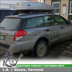 Subaru Outback Snowboard-Ski Roof Box on Factory Rack Crossbars using Thule 685XT Atlantis 1200 Cargo Box