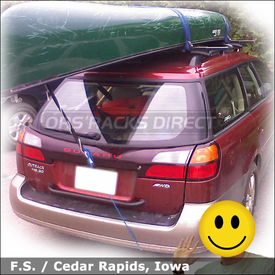 Subaru Outback Wagon Canoe Rack with Thule 450 Roof Rack System & 579XT Canoe Carrier
