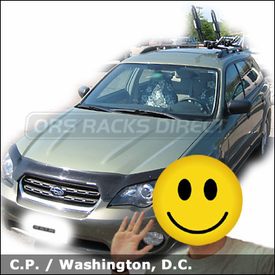 Subaru Outback Wagon Car Rack with Yakima HullRaiser Aero Kayak Rack for Factory Bars