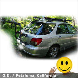 Subaru WRX Car Trunk Rack & Roof Rack with Saris Bones RS, Yakima Lowrider System and Viper Bike Carriers