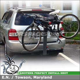 Swing Away Hitch Bike Rack for 2007 Toyota Highlander Reciever Hitch Mount using Yakima Swing Daddy Four Bicycle Hitch Rack