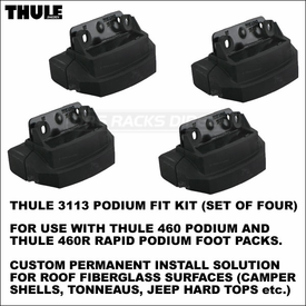 Thule 3113 Podium Fit Kit (set of 4) - Custom Permanent Install Solution On Roof Fiberglass Surfaces Such As Camper Shell, Tonneau, Jeep Hard Top etc.