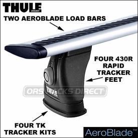 Thule 430R Rapid Tracker II Roof Rack w/ AeroBlade Bars | Complete System for Factory Rack Tracks. Permanent Tracks, Fixed-Points etc.