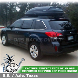 Thule 604 Ascent 1600 Cargo Roof Box On 2011 Subaru Outback Factory Rack Cross Bars