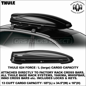 Thule 624 Force L Roof Rack Cargo-Luggage Box Now In Stock
