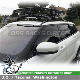Thule 690XT MOAB Basket Mounted to 2012 Land Rover Range Rover Factory Roof Rack Cross Bars