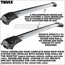 Thule 7501, 7502, 7503 AeroBlade Edge High Performance and Quiet Car Racks for Raised Rails