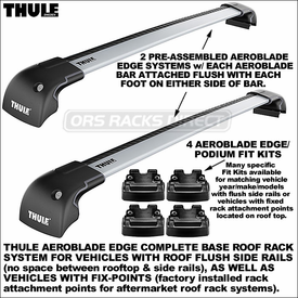 Thule 7601, 7602, 7603 AeroBlade Edge Cartop Rack Systems for Flush Rail and Fix Point Roofs