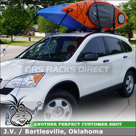 Thule 830 Kayak Stacker for Carrying 2 LL Bean Manatee Kayaks on 2008 Honda CR-V Factory Cross Bars