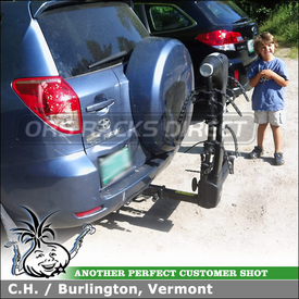 Thule 9031 Vertex Swinging Away Hitch Bike Rack Installed On Toyota RAV4 Trailer Hitch Receiver Mount