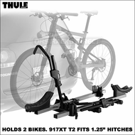 "Thule 917XT T2 Platform Bike Rack for 1.25"" Hitches - Premium Hitch Bike Rack Holds 2 Bikes"