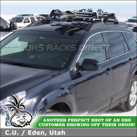 Thule 92725 Snowboard-Ski Rack Mounted to 2012 Subaru Outback Factory Rack Crossbars