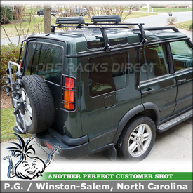 Thule 963XTR Spare Tire Mount Bike Rack and Thule 953 Rain Gutter Roof Rack for 2004 Land Rover Discovery II Series