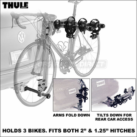 "Thule 971XT Helium Hitch Bike Rack - Aluminum Lightweight 3 Bike Hitch Rack for 1.25"" & 2"" Hitches"