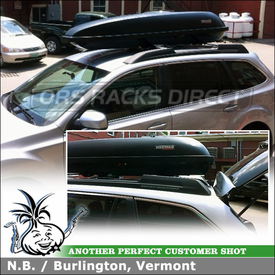 Thule Atlantis 1600 and Yakima RocketBox Pro 11 Cargo Roof Boxes Mounted to 2012 Subaru Outback Factory Rack Cross Bars