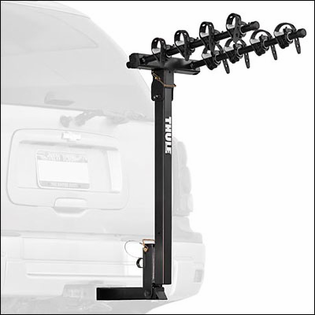 Thule Hitch Bike Racks - Thule 935XT Hitching Post Pro 4 Bicycle Rear Hitch Mount Bike Rack for 1 1/4 inch Hitches