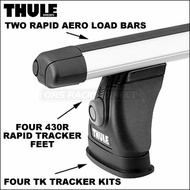 Thule Roof Rack Systems - 2012 Thule 430R Rapid Tracker II Car Roof Rack w/ Rapid Aero Bars