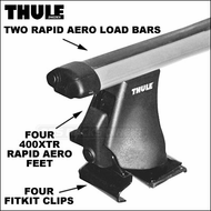 Thule Roof Racks - 2013 Thule 400XTR Rapid Aero Car Roof Rack w/ Rapid Aero Bars - Complete Base System For Bare Naked Rooftops