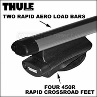 Thule Roof Racks - 2013 Thule 450R Rapid Crossroad w/ Rapid Aero Bars Complete Car Roof Rack System