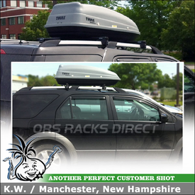 Thule SideKick Hardshell Box and Yakima Cross Bars Roof Rack for Ford FreeStyle Parallel Rails
