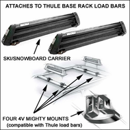 Thule Snowboard Racks & Ski Racks - Yakima Buttondown - 4V Mighty Mounts for up to 6 pairs of skis or 4 snowboards on Thule Rack square load bars