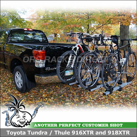 Thule T2 Platform Hitch Bike Rack with 2 Bike Add-On for Trailer Hitch on 2012 Toyota Tundra