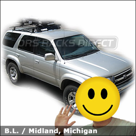 Toyota 4 Runner with Thule 430 Tracker II Car Rack, 871XT Fairing and Thule 883 Glide & Set Kayak Rack