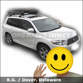 Toyota Highlander Luggage Roof Rack with Yakima Lowrider System & MegaWarrior Roof Basket