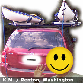 Toyota Highlander Roof Rack for Kayaks with Thule 450 Crossroad Base System and Thule 897XT Hullavator Kayak Racks