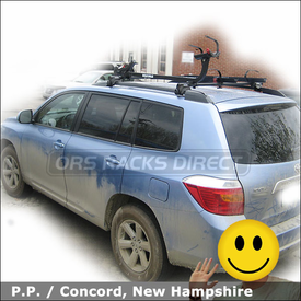 Toyota Highlander Roof Rack & Tandem Bike Rack with Yakima Lowrider System, SideWinder and SteelHead Bike Racks