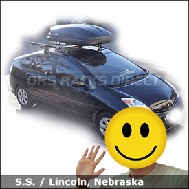 Toyota Prius Bike Rack & Cargo Box with Thule 400XT Aero System, Thule 603 Ascent Roof Box & Rocky Mounts Lariat SL Bike Carrier